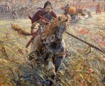 Ryzhenko Pavel Viktorovich  Peresvet victory. 2005  Oil on canvas   170x210 cm  Private collection